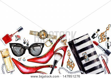 Border of various watercolor female accessories. Makeup products high heel shoes perfumes lipstick earrings rings beads nail polish watch sunglasses. Hand drawn accessories