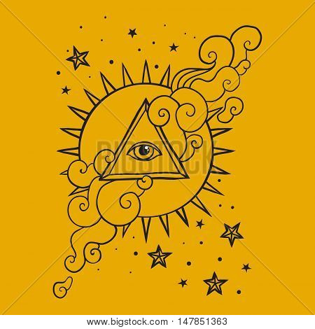 Eye of Providence sign. Masonic symbol. All seeing eye in triangle pyramid over sun and clouds. Hand drawn concept of alchemy, spirituality, occultism, ancient. Sacred geometry vector illustration