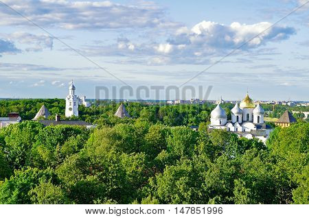 Architecture birds eye view of St Sophia Cathedral with the belfry in the park of Novgorod Kremlin in Veliky Novgorod Russia. Summer view from height of Veliky Novgorod Russia