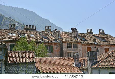 Historic buildings in Kotor old town Montenegro.