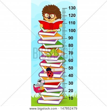 stack of book height measure (in original proportions 1:4) - vector illustration, eps