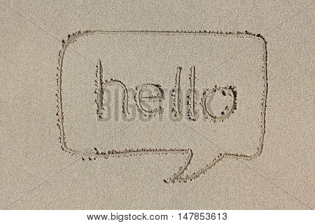 Speech bubble with the word hello written in the sand. Simple and graphic communication.