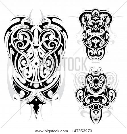 Maori tribal tattoo set isolated on white backdrop