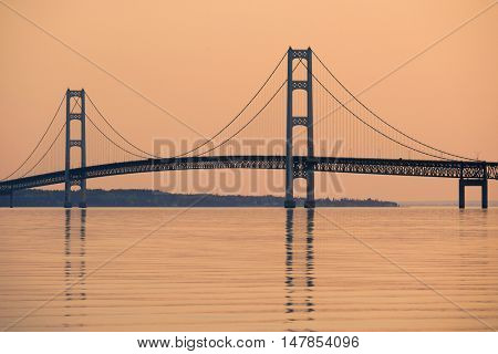 Mackinac suspension bridge at sunrise, built in 1957, Michigan, USA