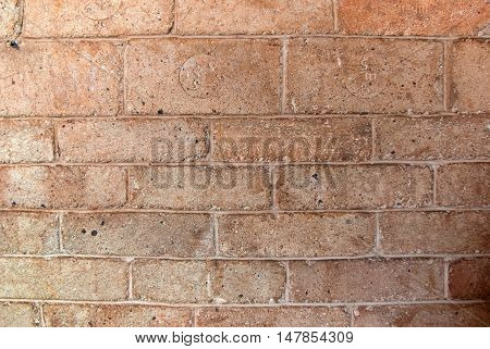 Rea bricks wall in the old cafe in ukraine