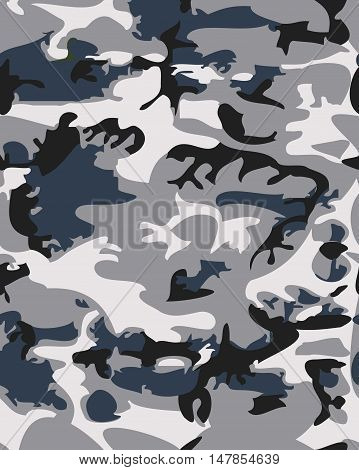 Camouflage pattern background seamless vector illustration. Classic clothing style masking camo repeat print. Gray black white colors forest winter texture