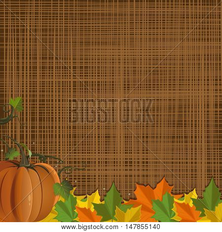 Autumn background with pumpkin and colorful fallen leaves on rustic sacking background. Vector illustration