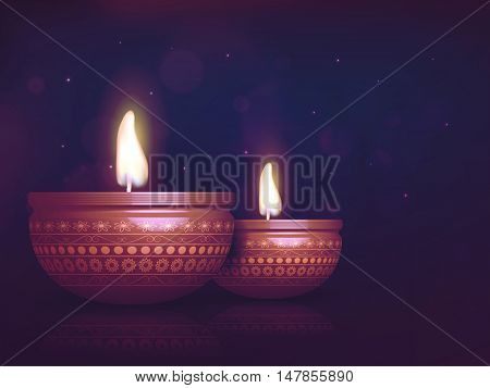 Glossy realistic illuminated Oil Lamps (Diya), Creative glowing festive background, Elegant Greeting Card design, Beautiful illustration for Indian Festival of Lights, Happy Diwali celebration.