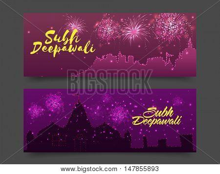 Shubh Deepawali website header or banner set for Traditional Indian Festival celebration concept.