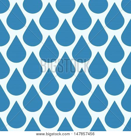 Blue vector falling water drops seamless pattern. Background wet condensation illustration