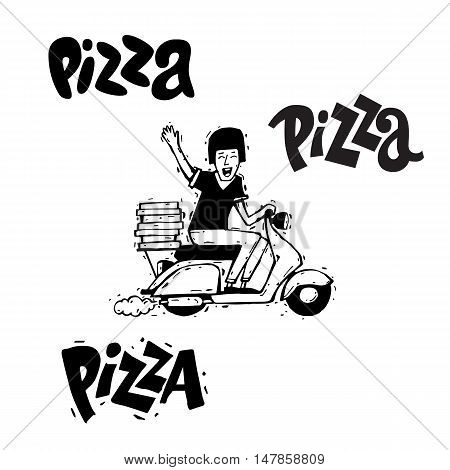 Pizza delivery boy riding motorbike, isolated on white background. Lettering, calligraphy, lino-cut. Hand-drawn. Flat design vector illustration.