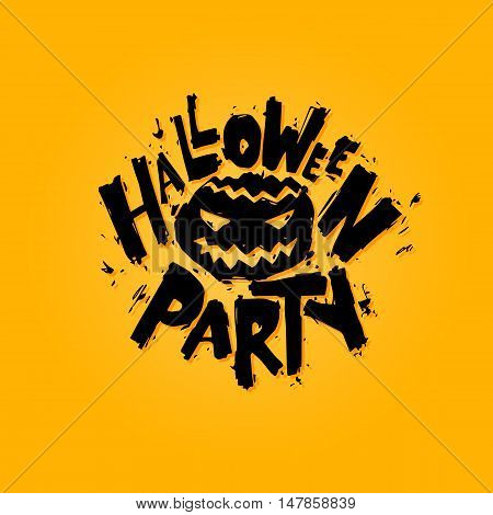 Happy halloween poster, banner, fly-er. Pumpkin. Lettering, calligraphy, lino-cut. Halloween party. Flat design vector illustration.