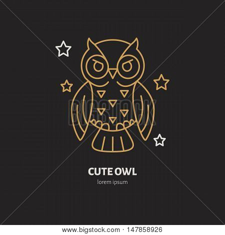 Cute owl illustration. Modern vector line icon of night bird. Funny owl linear logo. Outline symbol for sleep problem chronotype. Design element for site brochures books. Golden owl.