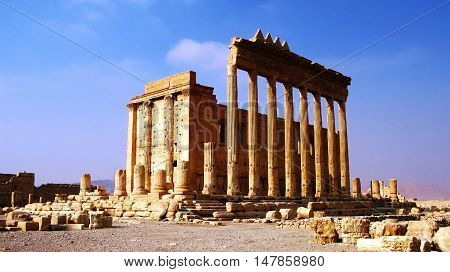 Destroyed temple of Baal in Palmyra Syria. Eliminated by ISIS now.