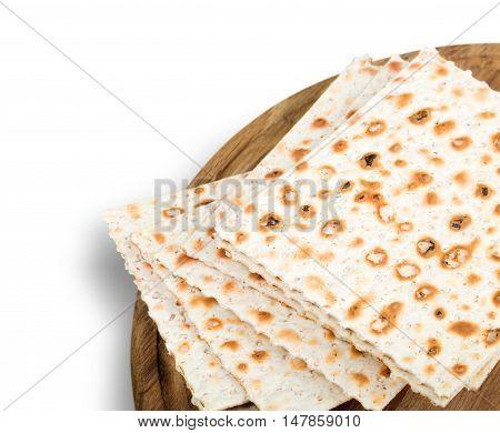 Bread matza yellow background nobody isolated celebration