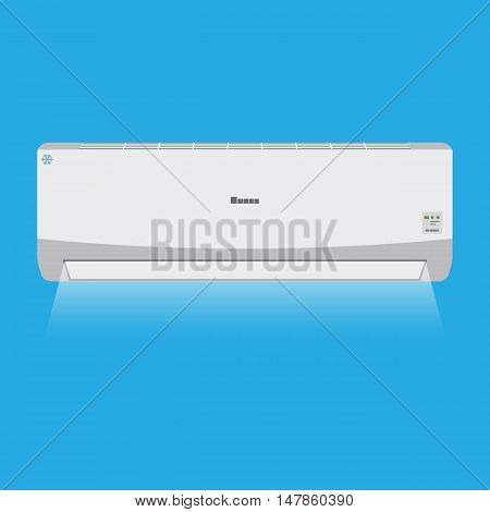 Air conditioner system. internal unit produces cool. vector illustration in flat style on blue background