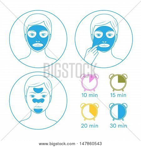 Three instructions for use face masks purifying peel-off mask, peel-off strip, hydrating mask.Line style.Vector illustration.