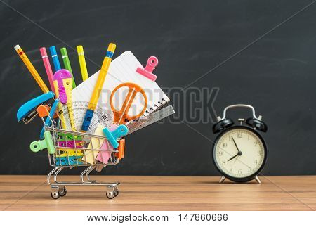 Education For Student Back To School With Supplies Shopping Cart