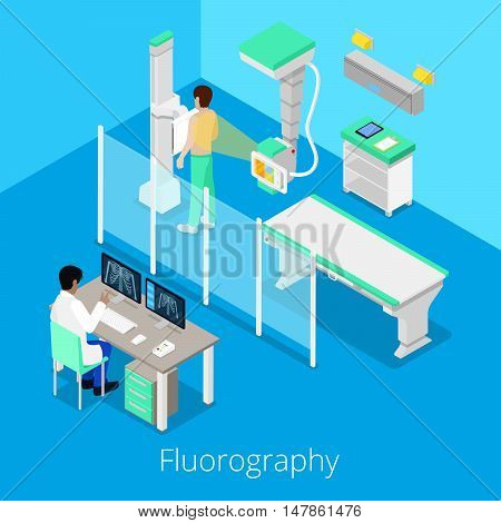 Isometric Radiology Fluorography Procedure with Medical Equipment and Patient. Vector illustration