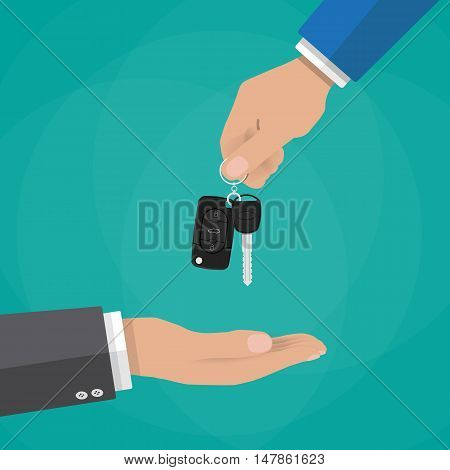 hand gives car keys to another hand. buy, rental or lease a car. vector illustration in flat dtyle on green background