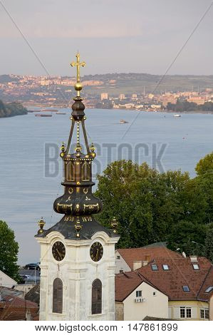 Old part of Zemun,Serbia with Saint Nicholas church and Danube river in the back poster