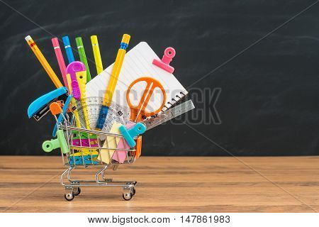 Shopping For School Education Supplies And  Back To School
