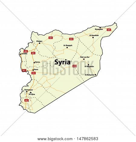 Vector Syria Map with Major Cities and Roads