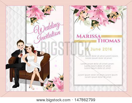 Luxury-modern invitation card lovely couple sitting on sofa and drinking vector wedding cartoon style with 4