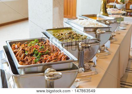 Food buffet on silver tray in the Thailand