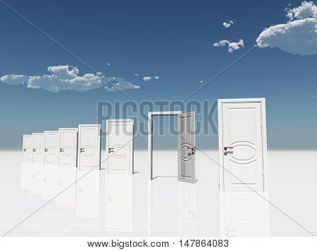 Sigle open door amongst several  in surreal landscape 3D Render