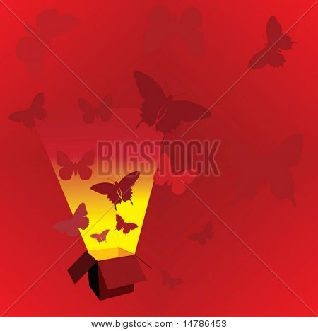 red illustration with open box and butterflies