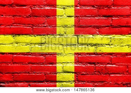Flag Of Messina, Sicily, Italy, Painted On Brick Wall