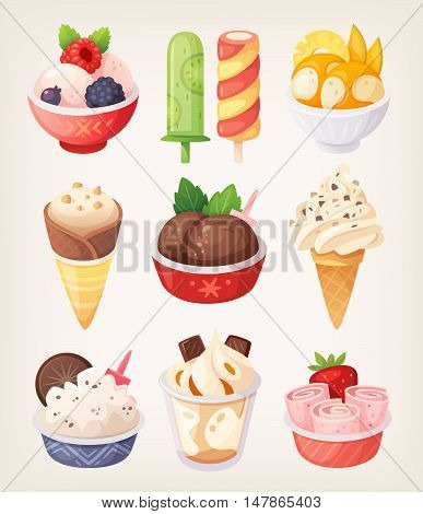 Set of colorful ice creams illustrations for summer menu and truck labels