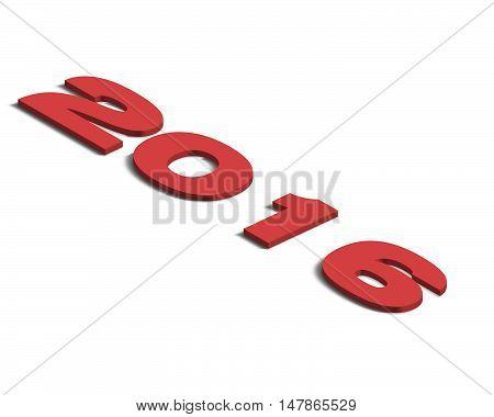 Logo anno 2016 in prospettiva isometrica 3d rosso destra