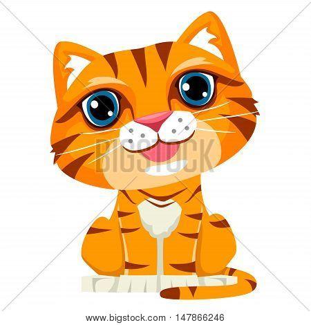 Vector Illustration of Cute Cartoon Cat in Sitting Position