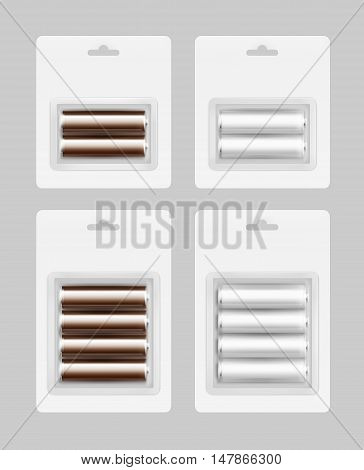 Vector Set of Two and Four White Silver Brown Glossy Alkaline AA Batteries in White Blister Packed for branding Close up Isolated on Background