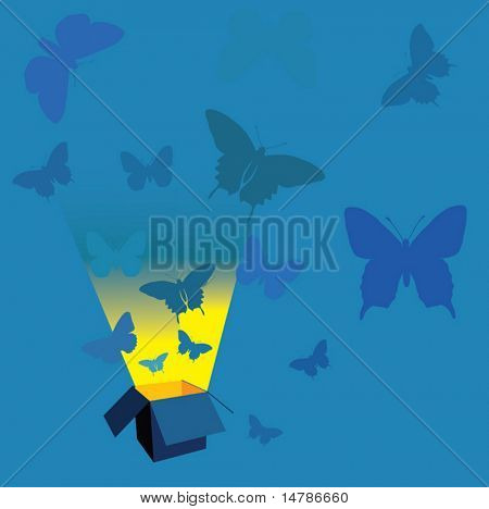 blue illustration with open box and butterflies