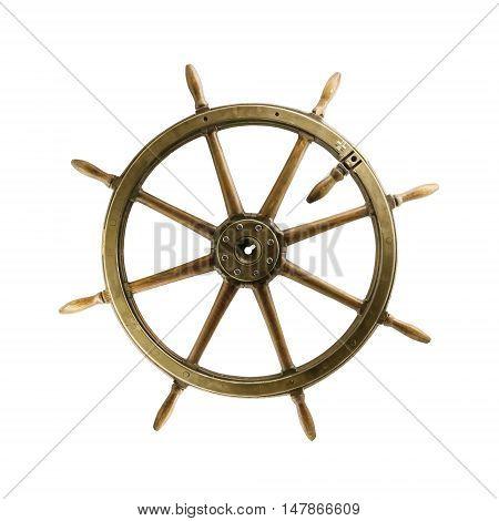 Vintage Steering Wheel Isolated On White