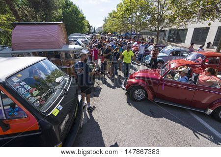 Tossa de Mar, Spain. September 17, 2016: crowded street in the 23rd Volkswagen classics meeting in Tossa de Mar. This is a meeting point for many fans of the classic air-cooled Volkswagen.