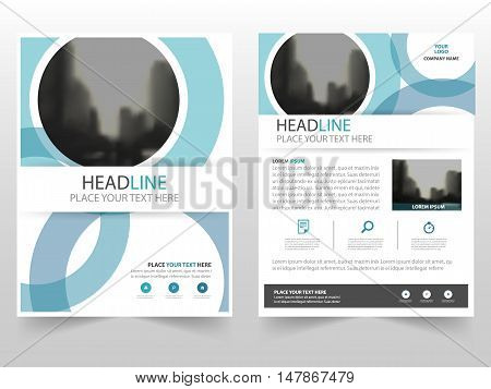 Blue circle Vector annual report Leaflet Brochure Flyer template design, book cover layout design, abstract business presentation template, a4 size design