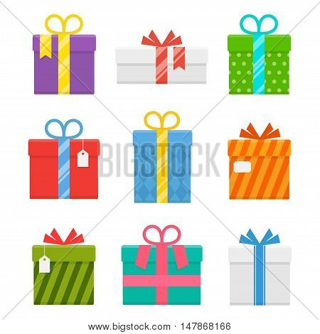 Gift or present box with ribbon vector set of isolated from the background. Icons of gifts box for Christmas or a birthday party in a flat style.