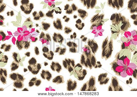 Cute Flower Seamless Mix Leopard Vector Pattern