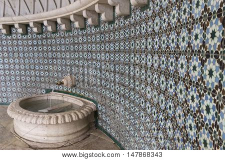 Beautiful Fountain In The Ancient City Of Sintra Portugal