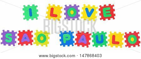 Message I Love Sao Paolo from letters puzzle isolated on white background.