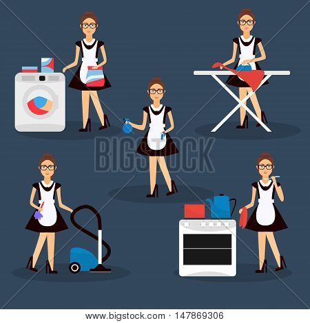 Multitasking housewife Vector illustration. Housekeeper woman ironing cleaning cooking and washing