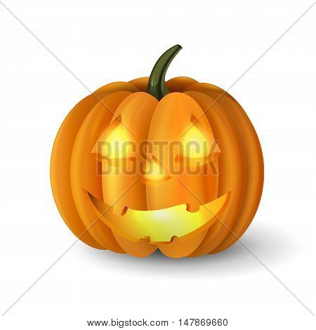 Scary Jack O Lantern halloween pumpkin with candle light inside vector