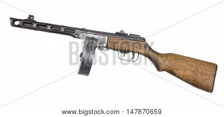 Automatic gun from World War II isolated on white background. Machine gun.
