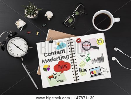 message about content marketing on business book with office equipment. management to business success concept.
