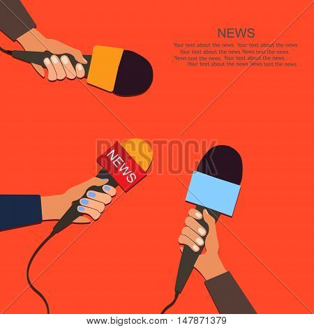 Microphones and voice recorder in hands of reporters on press conference or interview. Journalism concept.