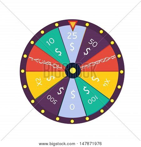 Fortune wheel in flat style. Game money winner play luck. Vector illustration